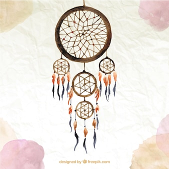 Watercolor background with a brown dream catcher