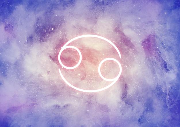 がんの星座と水彩の背景