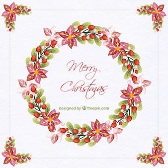 Акварельный фон с рождественским цветочным венком