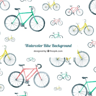 Watercolor background with colorful bikes