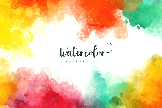 Watercolor background with colorful stains