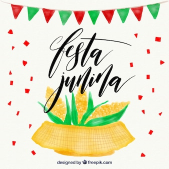 Watercolor background with corn cobs of festa junina