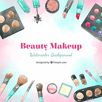 Watercolor background with cosmetics