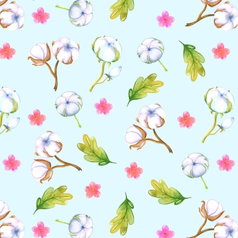Watercolor background with cotton and leaves
