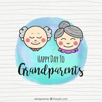 조부모의 부부와 함께 수채화 배경