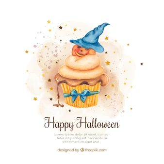 Watercolor background with cupcake and decorative halloween pumpkin