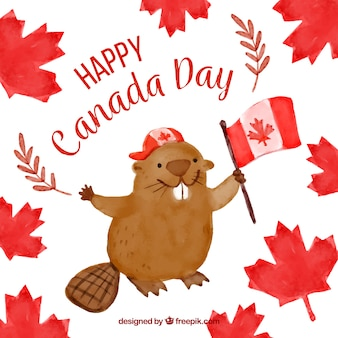 Watercolor background with cute beaver for canada day