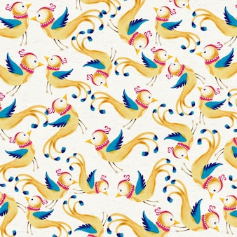 Watercolor background with cute birds