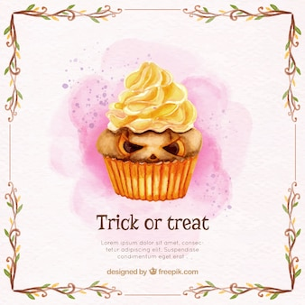 Watercolor background with delicious halloween cupcake