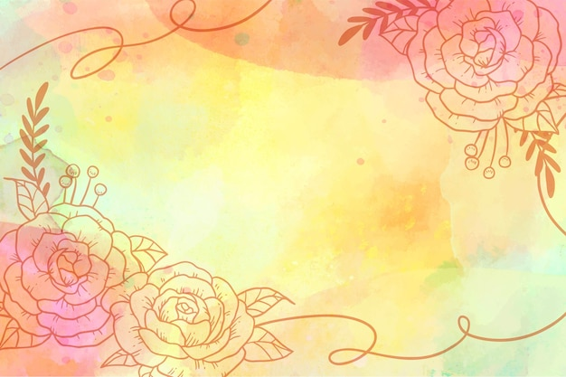 Watercolor background with drawing elements