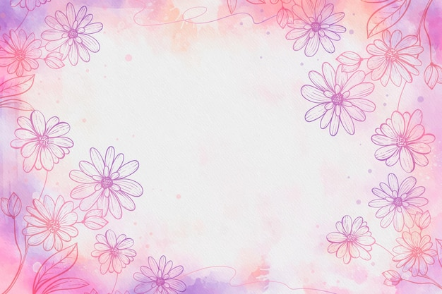 描かれた花と空のスペースと水彩の背景