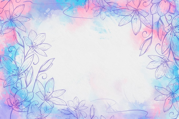 그린 된 꽃과 빈 공간으로 수채화 배경