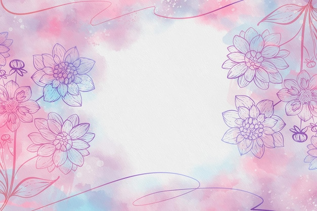 Watercolor background with drawn flowers and empty space