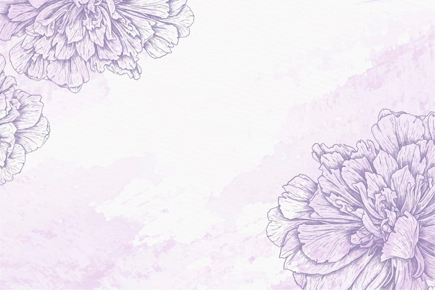 Watercolor background with drawn flowers