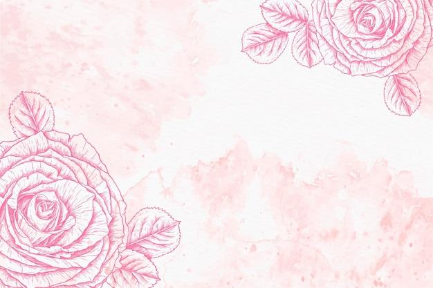 描かれた花と水彩の背景