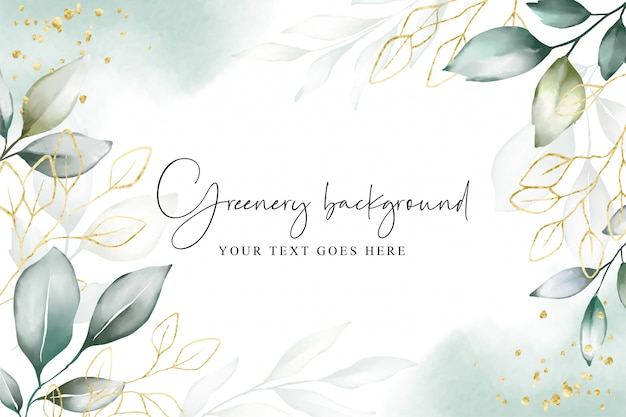 Watercolor on background with elegant greenery