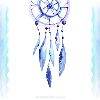 Watercolor background with ethnic dream catcher