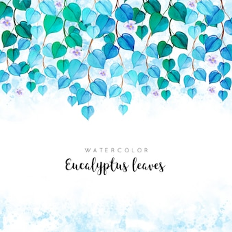 Watercolor background with eucalyptus