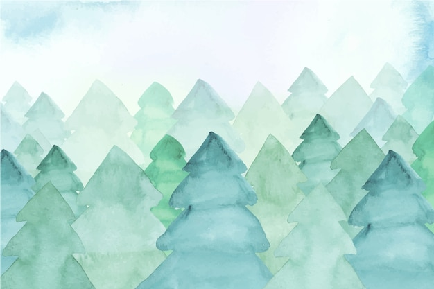 Watercolor background with fir trees