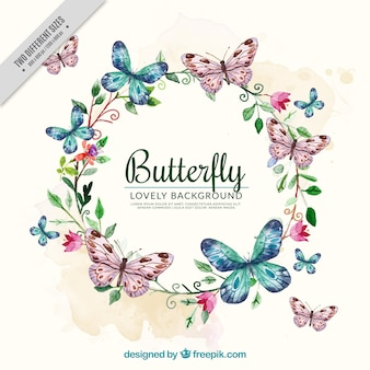 Watercolor background with floral wreath and butterflies Premium Vector