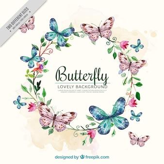 Sfondo acquerello con corona di fiori e farfalle