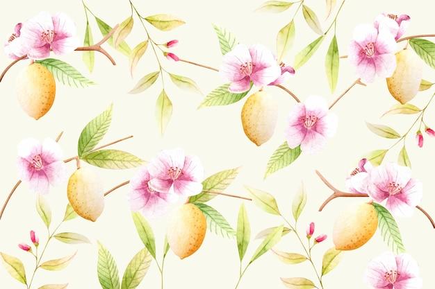 花柄の水彩画の背景