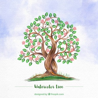 Watercolor background with flowery tree