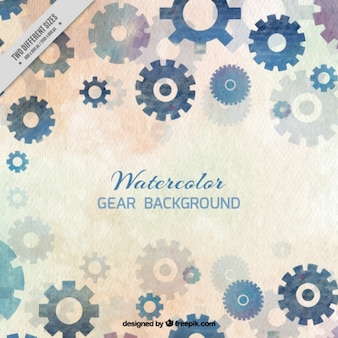 Watercolor background with gears in blue tones