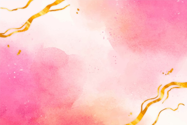 Watercolor background with golden foil
