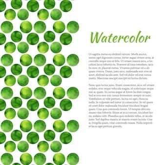 緑色の円で水彩の背景。抽象的なレトロな背景