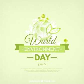 世界環境デーのための緑のリボンと水彩画の背景