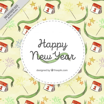Watercolor background with green ribbons for new year