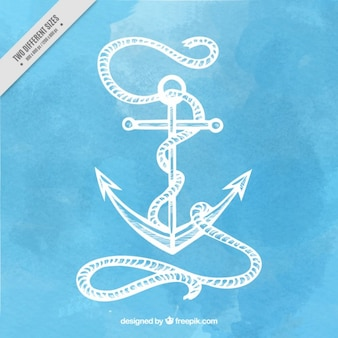 Watercolor background with a hand drawn anchor