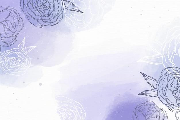 Акварельный фон с рисованной элементами