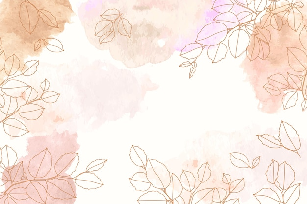 Watercolor background with hand drawn elements