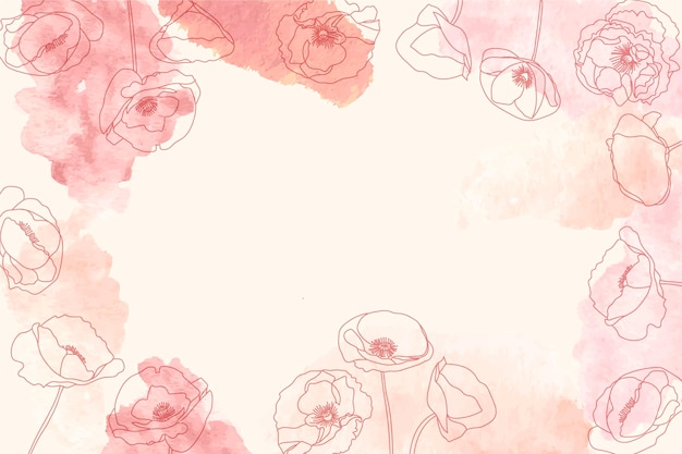 Watercolor background with hand-drawn elements
