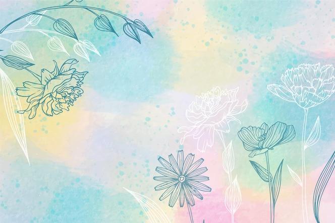 手描きの要素と水彩の背景