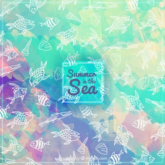 Watercolor background with hand drawn fishes