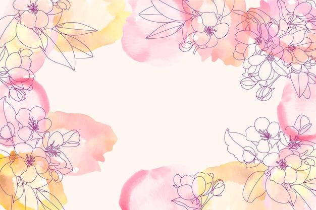 손으로 그린 꽃 요소와 수채화 배경