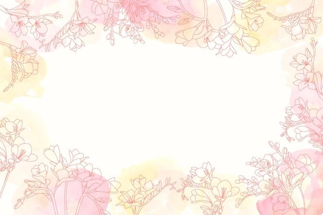 手描きの花の要素と水彩の背景