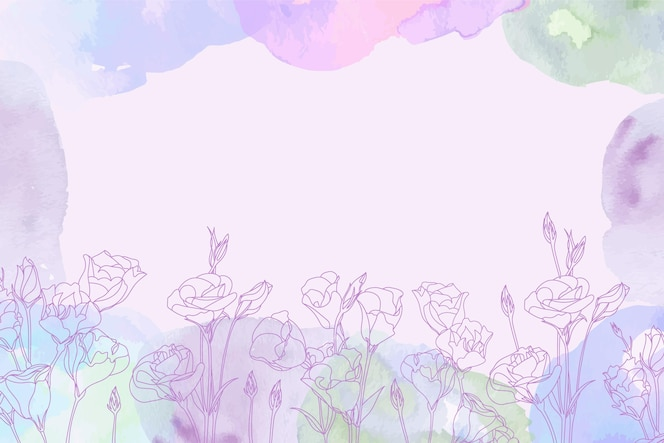 Watercolor background with hand drawn floral elements