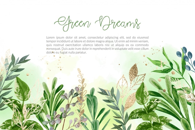 Watercolor background with hand drawn greenery and golden elements