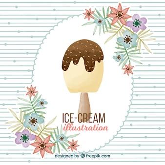 アイスクリームと花の水彩画の背景