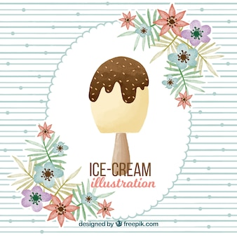 Watercolor background with ice cream and flowers