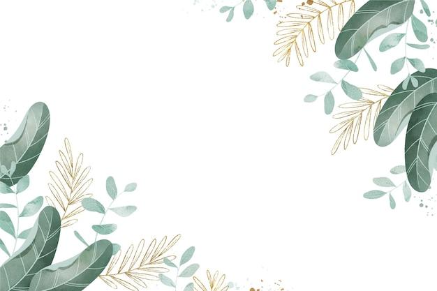 Акварельный фон с листьями и металлической фольгой
