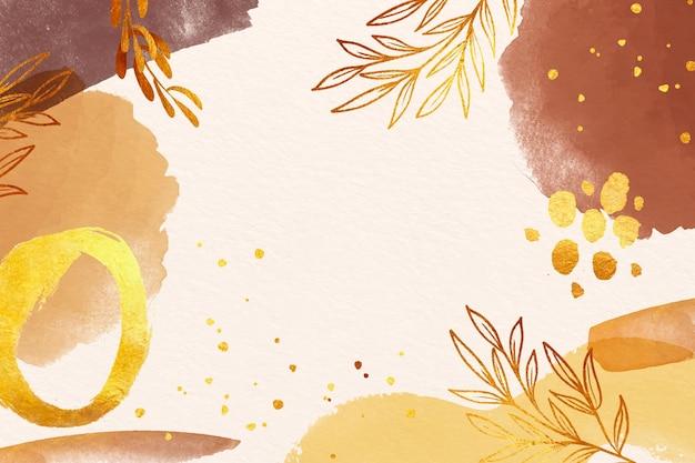 파스텔 색상의 잎 수채화 배경