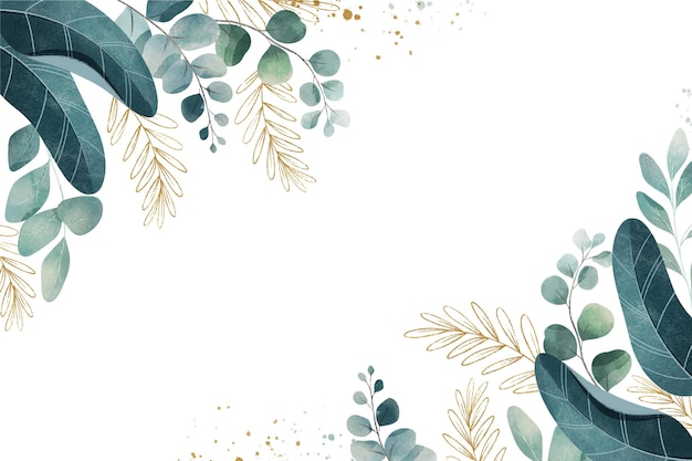 Watercolor background with leaves and metallic foil