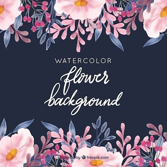 Watercolor background with lovely flowers