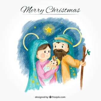 Watercolor background with lovely jesus birth