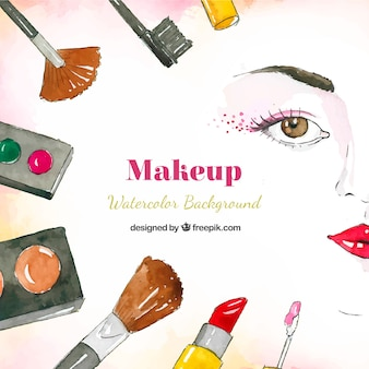 Watercolor background with make up variety